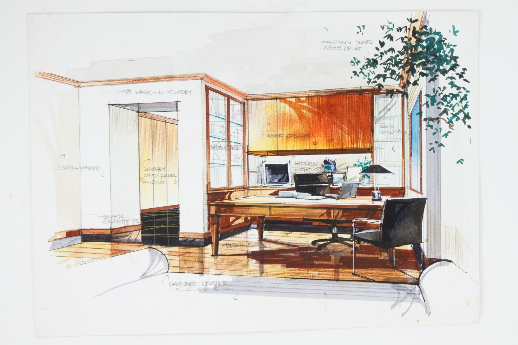 Graphic sketch office furniture plan